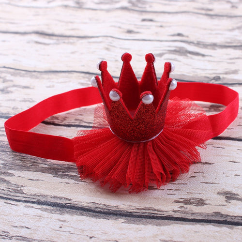 Ruby Red Pearl Glitter Crown Headband - ARIA KIDS