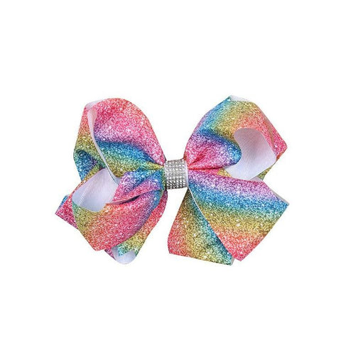 Tie dye rainbow sequins hair bow