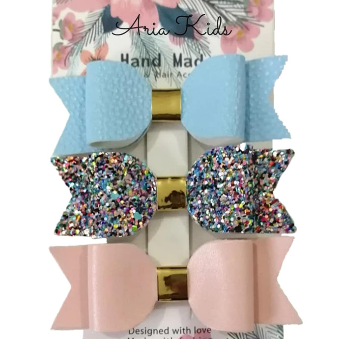 BLUE & PINK GLITTER HAIR BOW 3-PIECE GIFT SET - ARIA KIDS