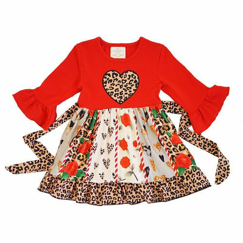 Cheetah & Floral Heart Dress - ARIA KIDS
