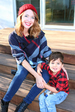 Navy ARIA Mommy and Me Plaid Poncho 2-Pc Gift Set - ARIA KIDS