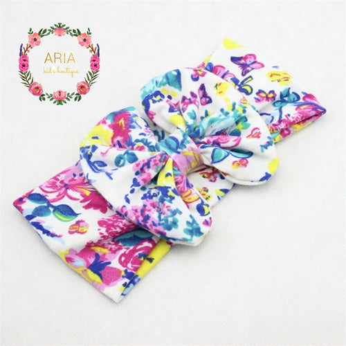 Floral Big Bow Headband - White Multi - ARIA KIDS