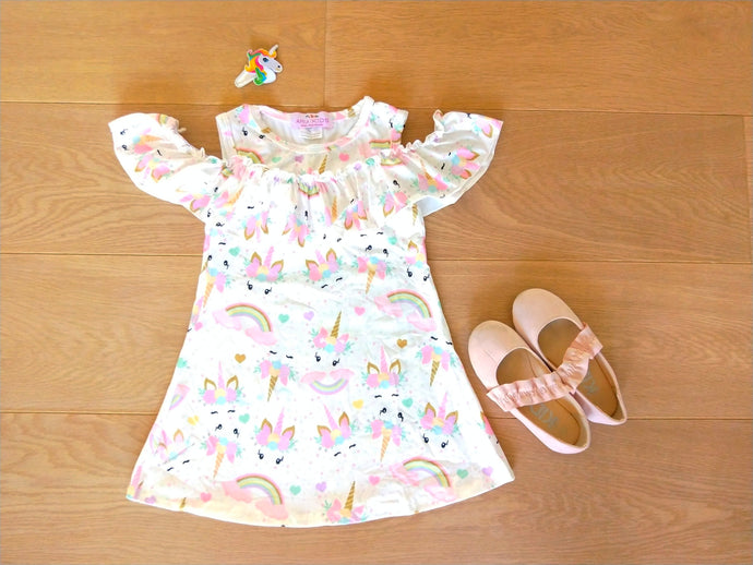 Pastel Unicorn Open Shoulder Dress - ARIA KIDS