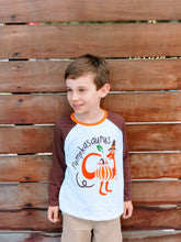 """Pumpkinsaurus"" Boys Orange/Brown Fall Raglan Shirt - ARIA KIDS"