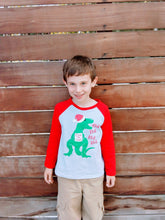 Deck the Halls Dinosaur Boys Christmas Red Raglan Shirt - ARIA KIDS