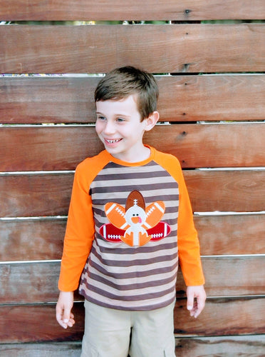 Boys Orange/Brown Turkey Thanksgiving Stripe Raglan Shirt - ARIA KIDS