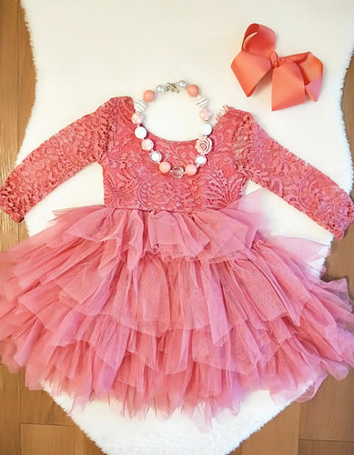 Pretty in Pink Lace Tulle Dress - ARIA KIDS