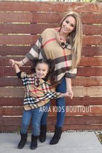 Aria Mommy and Me Plaid Poncho - Mother Daughter Matching 2-Piece Set (4 Colors) - ARIA KIDS
