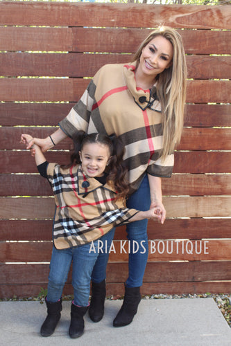 ARIA Plaid Collared Poncho - Mother Daughter Matching 2-Piece Set (4 Colors) - ARIA KIDS