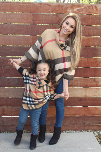 Camel Brown - ARIA - Matching Mommy and Me Poncho 2-Pc Gift Set - ARIA KIDS