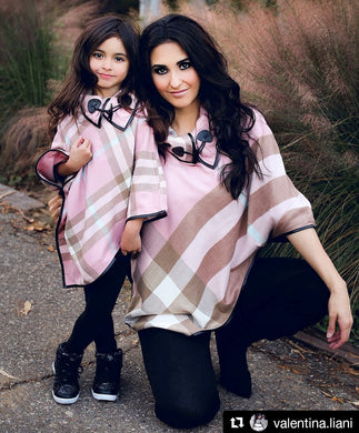 Pink - ARIA - Matching Mommy and Me Poncho 2-Pc Gift Set - ARIA KIDS