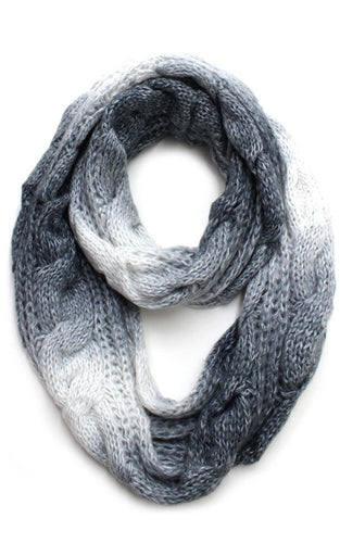 Shaded Grey and White Knitted Infinity Scarf - ARIA KIDS