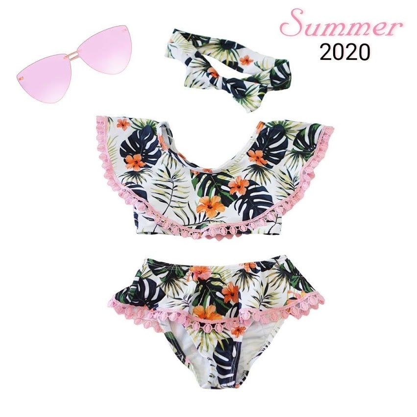 Floral Hibiscus Leaf Swimsuit 3-Piece Set - ARIA KIDS
