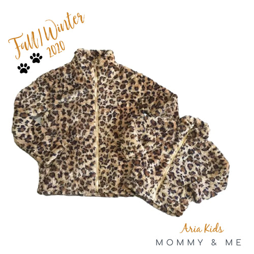 Mommy and Me Leopard Fleece Jacket - ARIA KIDS
