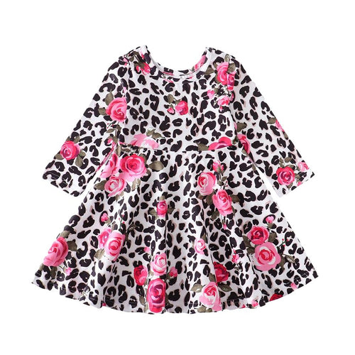 Leopard Pink Rose Twirl Dress with Hair Bow