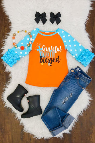 Grateful Thankful Blessed Thanksgiving Raglan Ruffle Shirt - ARIA KIDS