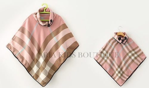 ARIA Plaid Collared Poncho - Mother Daughter Matching Set in 4 Colors - ARIA KIDS