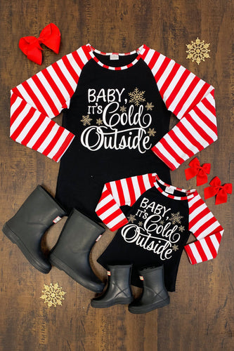Striped Mommy & Me Matching Christmas Raglan -