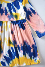 Tie Dye Mommy and Me Mother Daughter Dress - Yellow Blue - ARIA KIDS