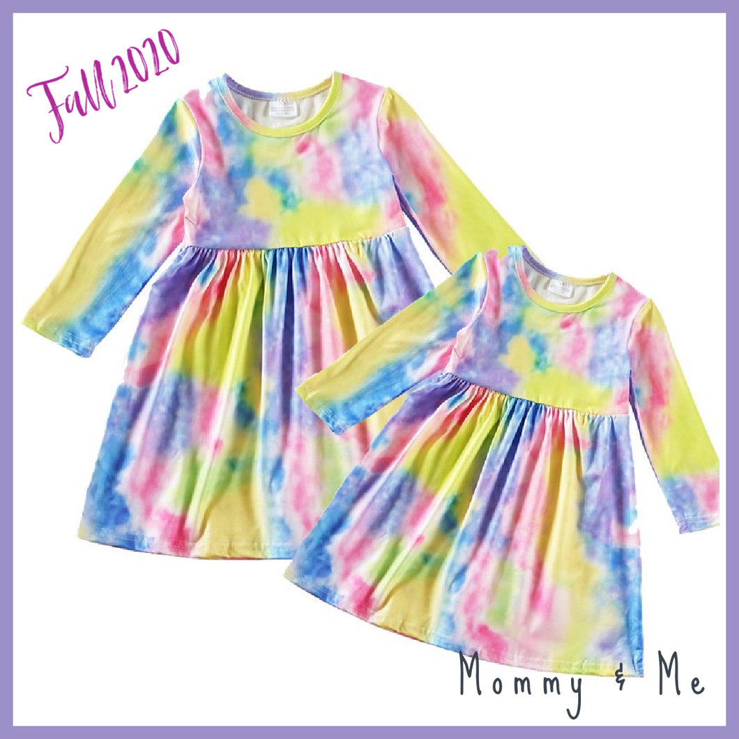 Tie Dye Mommy and Me Mother Daughter Dress - Green Blue - ARIA KIDS