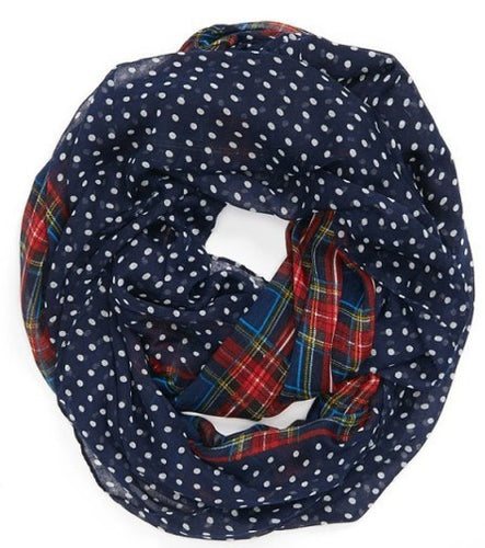 Double Printed Infinity Scarf in Polka Dots & Checks - ARIA KIDS