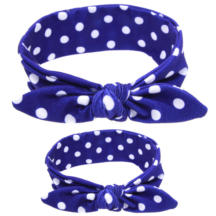 Royal Blue & White Polka Dot Headband - Mommy & Me - ARIA KIDS