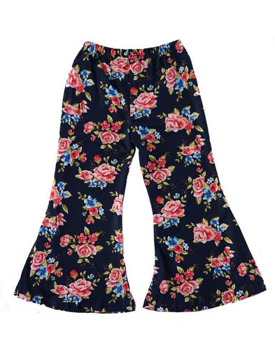 Navy Floral Rose Bell Pants - ARIA KIDS