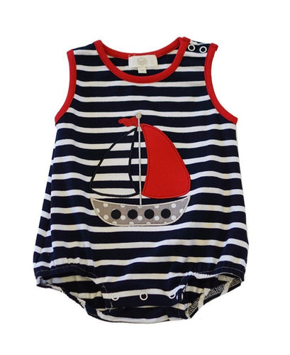 Stripes Sail Boat Baby Boy Romper - ARIA KIDS