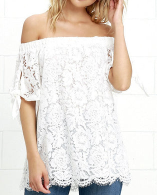 Miranda Off Shoulder Lace Side Tie Blouse - ARIA KIDS