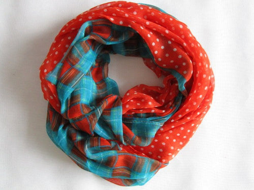 ORANGE Ladies Plaid & Polka Dot Infinity Scarf - ARIA KIDS