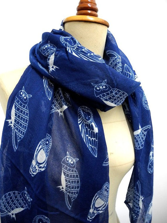Owl - Blue and White Soft Women's Scarf - ARIA KIDS