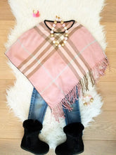 PINK - ARIANA Toddler Girl Round Neck Plaid Poncho - ARIA KIDS