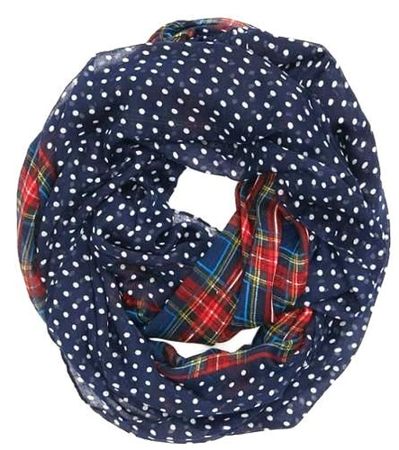 Navy Ladies Plaid & Polka Dot Infinity Scarf - ARIA KIDS