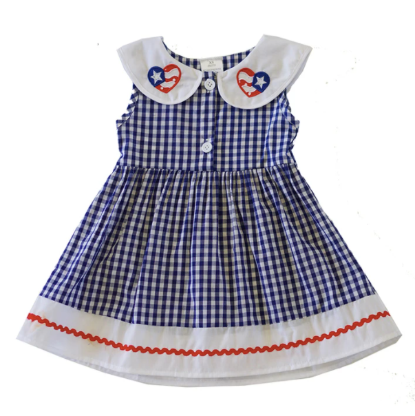 Embroidered Collared Blue Gingham Button Down Dress - ARIA KIDS