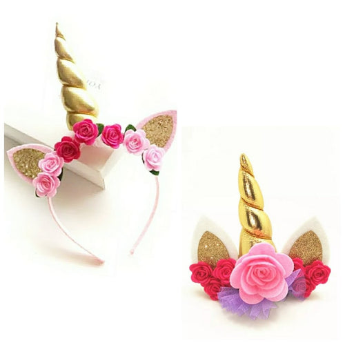 Rose Unicorn Headband in Pink & Gold - ARIA KIDS