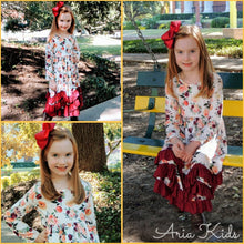 "Wine/Burgundy Floral Ruffle Maxi Dress with 5"" Hair Bow Clip - ARIA KIDS"