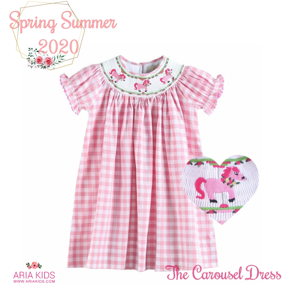 The Carousel Smocked Pink Plaid Dress - ARIA KIDS