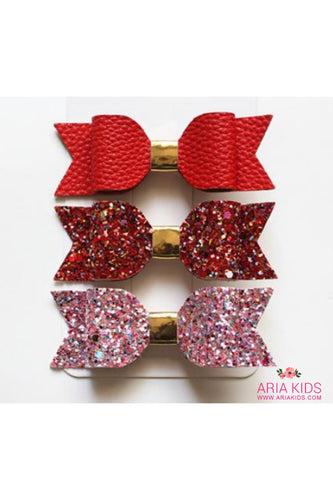 Red / Pink Glitter Hair Bow 3-Piece Gift Set - ARIA KIDS