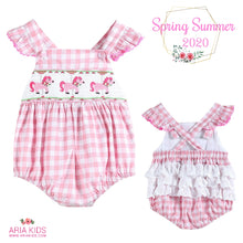 The Carousel Smocked Pink Plaid Baby Bubble Romper - ARIA KIDS