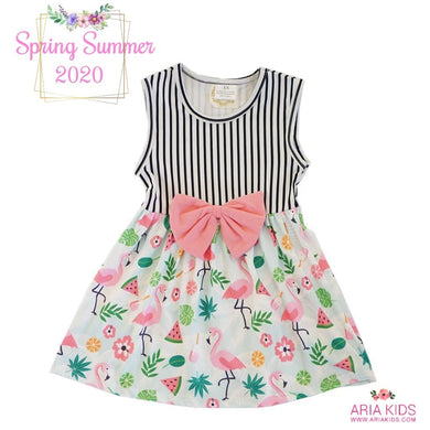 The Flamingo Stripe Dress - ARIA KIDS