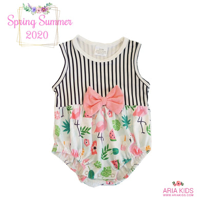The Flamingo Stripe Bubble Romper - ARIA KIDS
