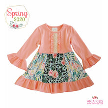 Peach Floral Leopard Dress - ARIA KIDS