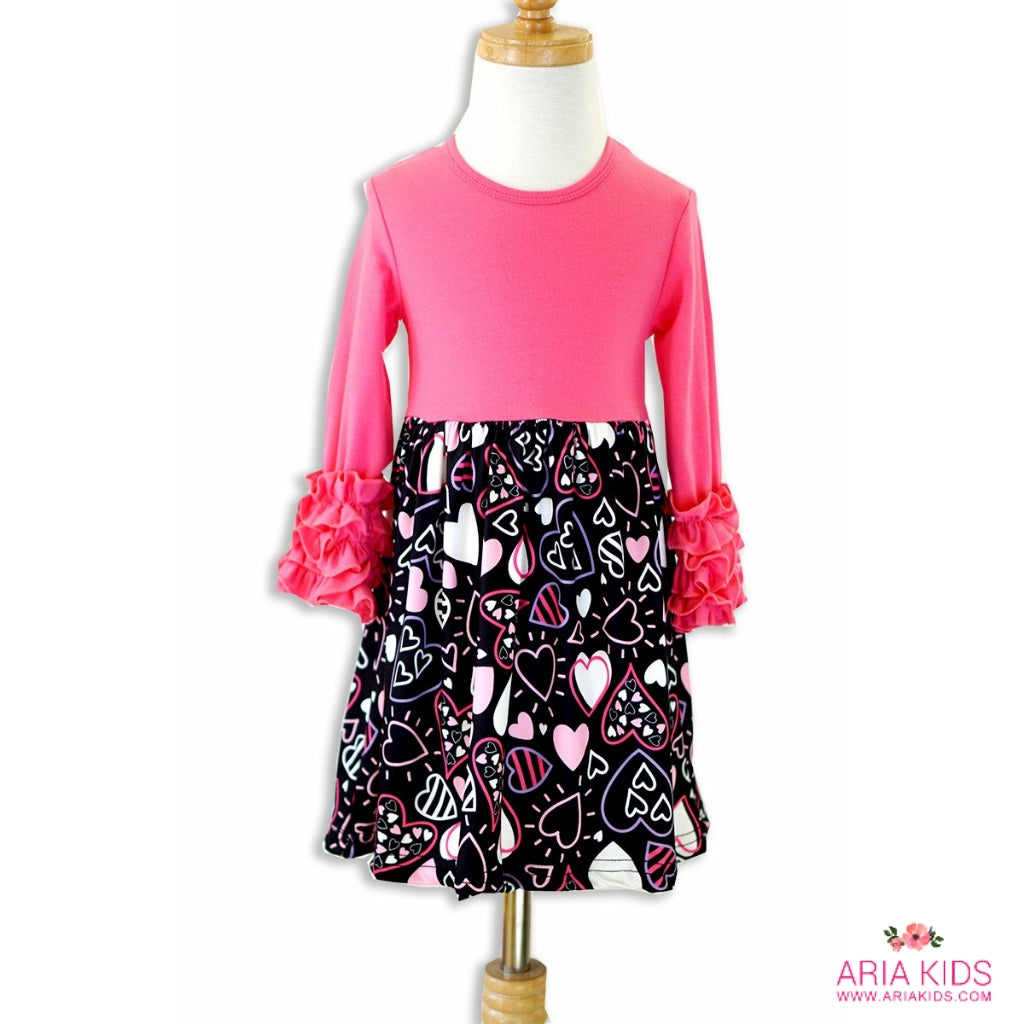 Hot Pink Hearts Ruffle Dress - ARIA KIDS