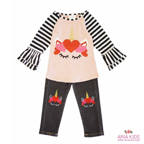 Unicorn Hearts Top & Pants 2-Piece Outfit - ARIA KIDS