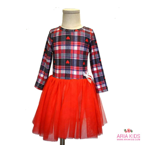 Hearts Checks Navy & Red Tutu Dress - ARIA KIDS