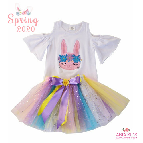Floral Bunny Cold Shoulder Top & Tutu Outfit - ARIA KIDS