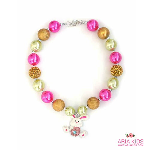Easter Bunny Chunky Bubblegum Necklace - PINK/GOLD - ARIA KIDS