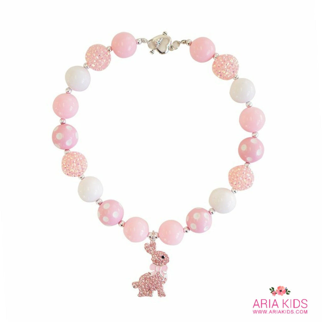 Easter Bunny Chunky Bubblegum Necklace - PINK/WHITE - ARIA KIDS
