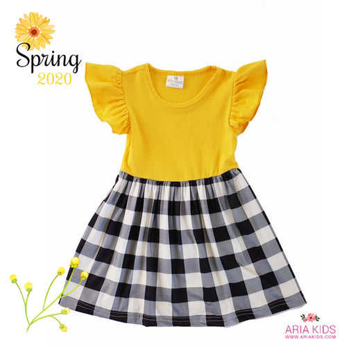 Madeline Plaid Flutter Sleeve Golden Yellow Dress - ARIA KIDS