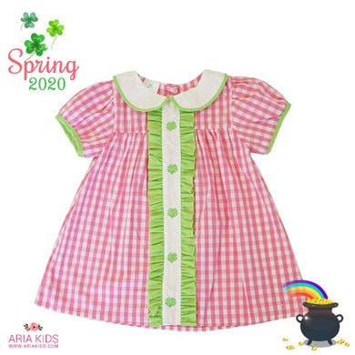 Pink Clover Gingham Plaid Short Dress - ARIA KIDS